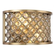 Hudson Antique Brass and Crystal Wall Light - ENDON 70559